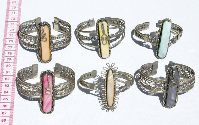 3 Cuff Bangle Bracelets Color Stones Peruvian Jewelry