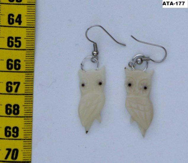 Dangle Carved Earrings of White Owl Tagua Art, Ecuador