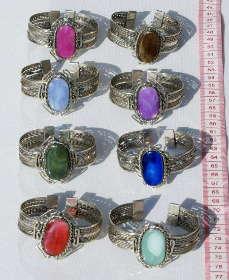 8 Cuff Bangle Bracelets Natural Agate Gem Stones Peru
