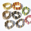 7 Artisan Wooden Beaded Bracelets of Wood Handmade Peru