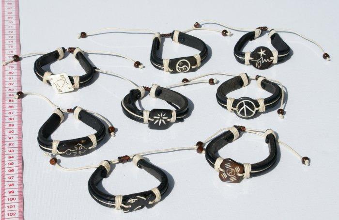 7 Artisan Black Leather Cuff Bracelets Handmade Bangles