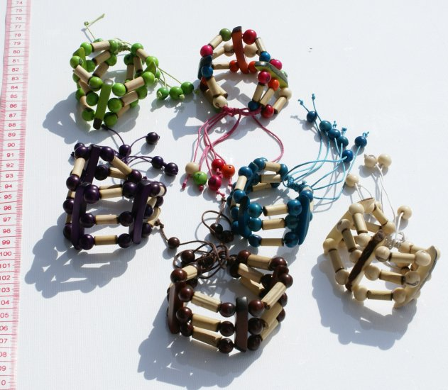 Lot 3 Beaded Handmade Bracelets Bamboo Color Seed Beads