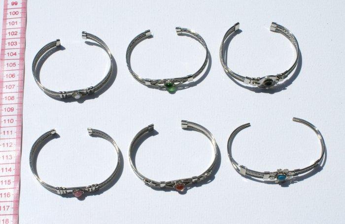 4 Metal Bracelet Cuff Bangle Natural Stone Piedra Beads