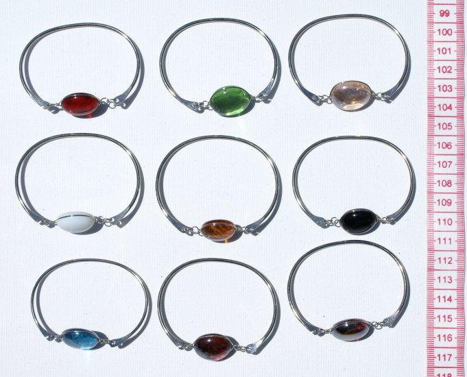 5 Metal Bracelet Cuff Bangle Round Murano Glass Beads