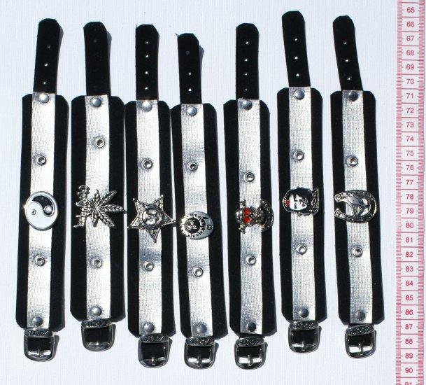 5 Black Leather Bracelet Metal Pendant Men Male Jewelry