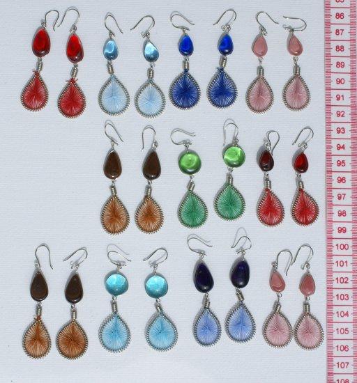 7 Pairs Dangle Earrings Murano, Peruvian Thread Jewelry