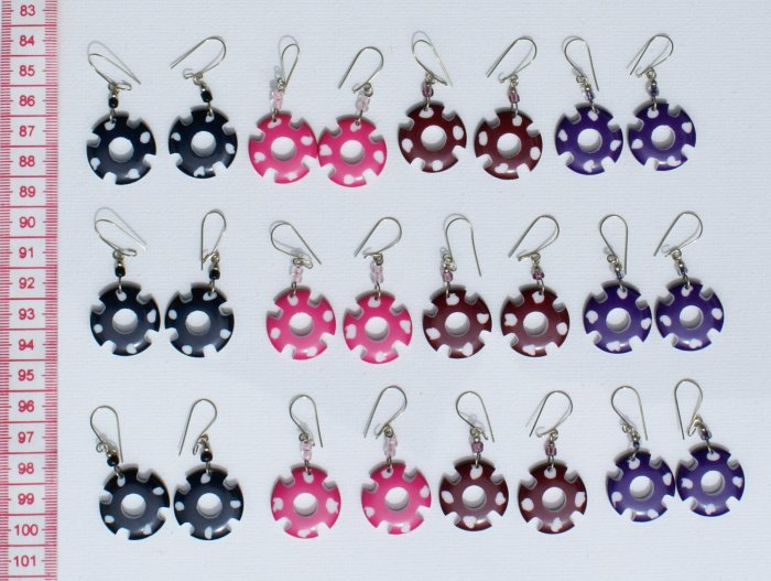 10 Pairs Color Carved Round Dangle Earrings Jewelry Art