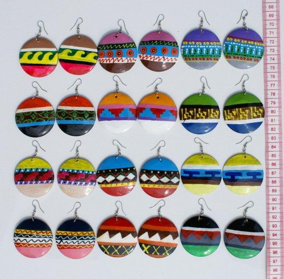 6 Pairs Wood Earrings Hand Painted Tribal Art Ornaments