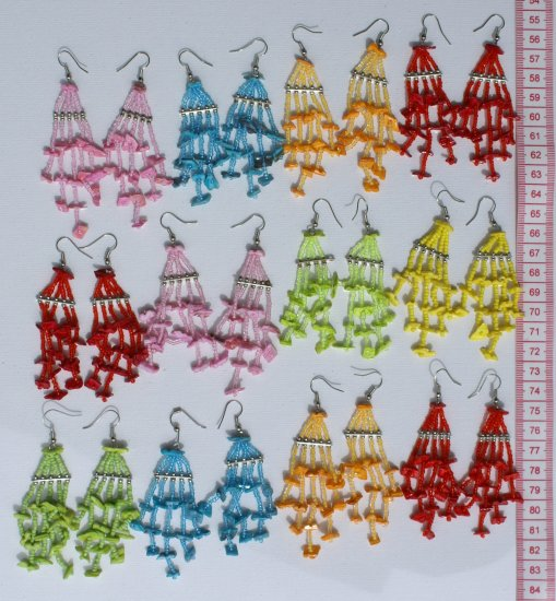 7 Pairs Color Pearl Thread Earrings Ethnic Jewelry Peru