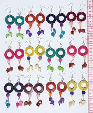 5 Pairs Earrings Round Carved Tagua Fashion Jewelry Art