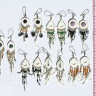 7 Pairs White Hand Carved Earrings Color Pearls, Bamboo