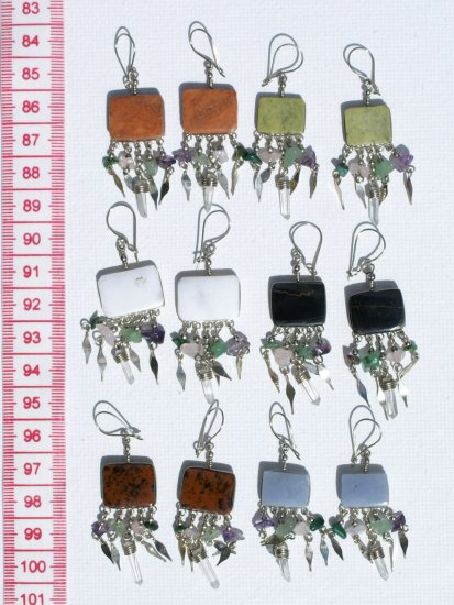 5 Pairs Earrings Square Natural Piedra Stones Jewelry