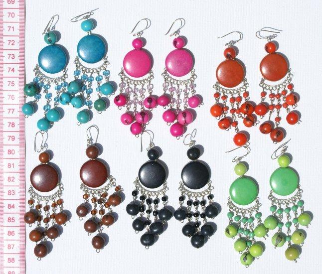 5 Pairs Color Tagua / Seed Pearls Earrings Jewelry Peru