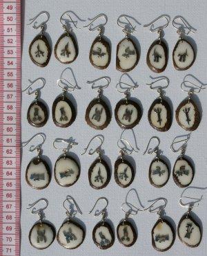 7 Pairs Tagua Dangle Earrings Metal Nazca Lines Peru