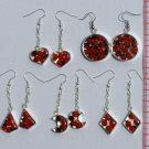 3 Pairs Earrings with Red Tropical Amazon Seeds Jewelry