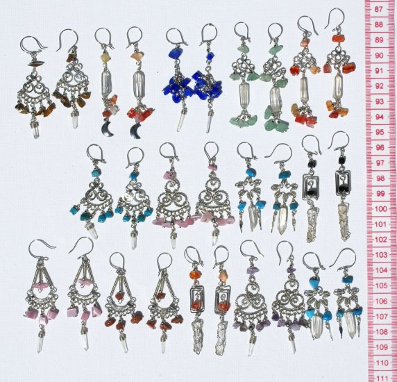 7 Pairs White Crystal Earrings, Cheap Wholesale Jewelry