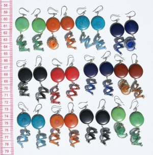 5 Pairs Tagua Thread Earrings Jewelry Wholesale Supply