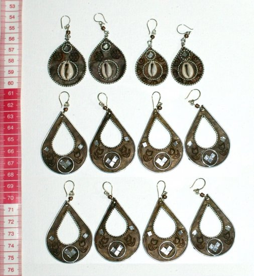 5 pairs metal earrings ethnic drawings models jewelry