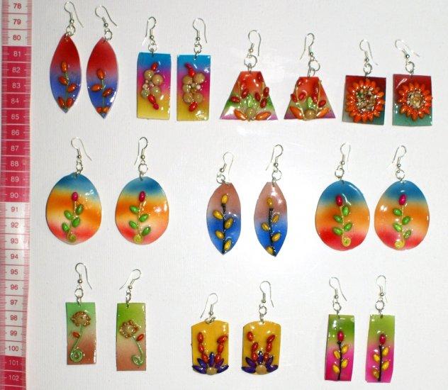 6 pairs color ceramic handmade earrings nice ornament