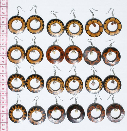 8 Pairs Round Wooden Brown Earrings Ethnic Style Design