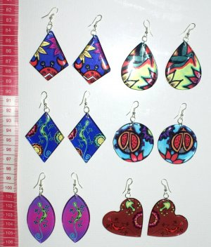 6 pairs artisan earrings with colorful ethnic ornament