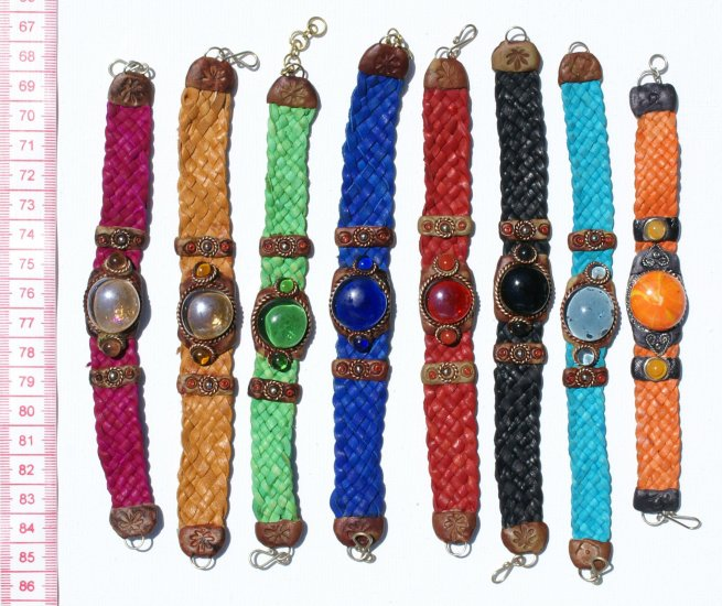6 Wide Woven Leather Bracelet With Colored Murano Glass