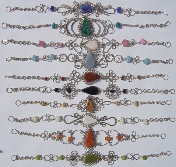 10 Natural Piedra Stones Bracelets Jewelry From Peru