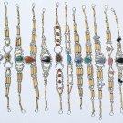10 Bamboo Wood Bracelets Natural Peruvian Piedra Stones