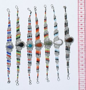 6 Bracelets Natural Piedra Stones Color Pearls Jewelry
