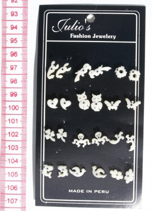 12 Pairs White Carved Earrings Wholesale Jewelry Peru