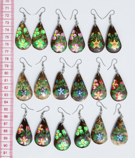 7 Pairs Coco Earrings Hand Paint Flower Painting Art