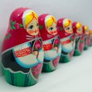 Matryoshka, Babushka or Babooshka, Stacked Russian Wood Nesting Dolls for Sale Gifts 7pc