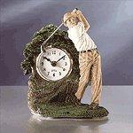 Golfer Statue Clock