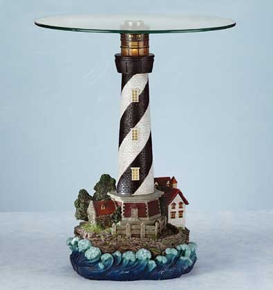 Glass Top Table Lighthouse