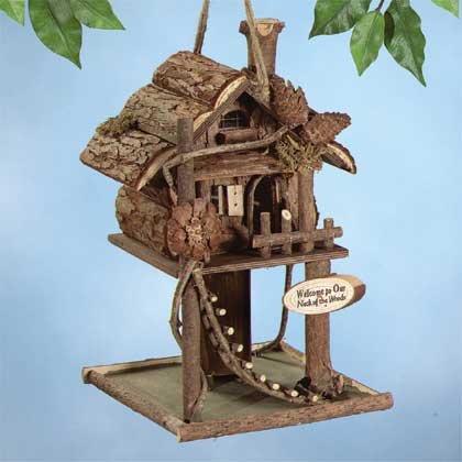Log Cabin Treehouse Bird Feeder