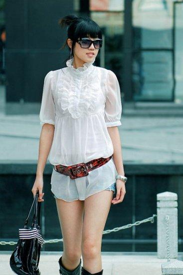 Korean Style Lace Long Blouse Dress Shirt