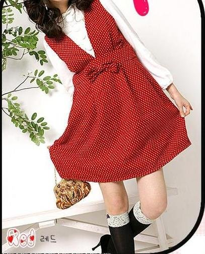 Gmarket Korean Red Polka Dot Dress