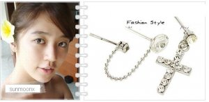 Korean Drama Yoon Eun Hye Double pierced Cross Earrings