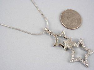 Beautiful Rhinestone Three Stars Necklace