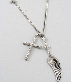 SOLD Beautiful Rhinestone Cross &  Angel Wing Necklace