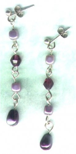 Handmade Lavender Glass Pearl Beaded Earrings - PreciousThings.ecrater.com