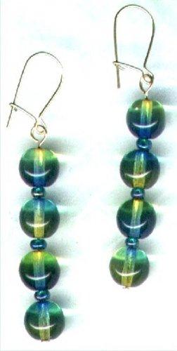 "Bicoloured Glass Dangle Beaded Earrings ""Peridot & Peacock"" - PreciousThings.ecrater.com"