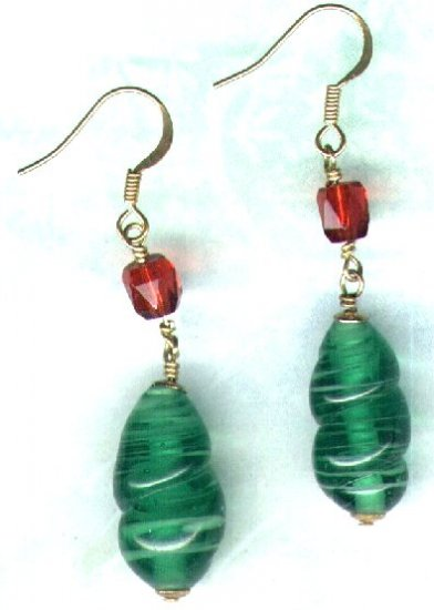 "Large Glass Drop Beaded Earrings ""Green Twist"" - PreciousThings.ecrater.com"