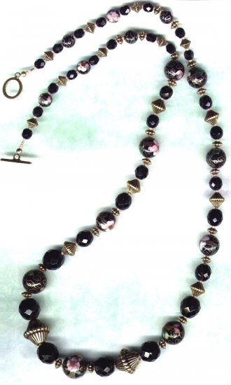 Handcrafted Graduated Black Glass and Cloisonne Beaded Necklace - PreciousThings.ecrater.com