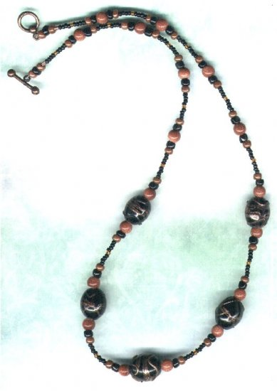 Handmade Black Indian Glass and Goldstone Beaded Necklace - PreciousThings.ecrater.com