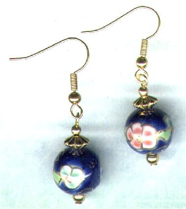 Decorated Chinese Porcelain Drop Beaded Earrings - PreciousThings.ecrater.com