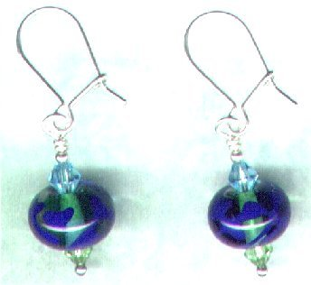 "Handcrafted Lampwork Glass Drop Beaded Earrings ""Cobalt Smoothies"" - PreciousThings.ecrater.com"