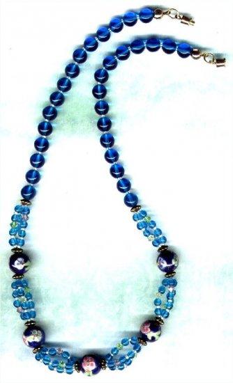 Handcrafted Aqua Porcelain and Swarovski Crystal Necklace - PreciousThings.ecrater.com