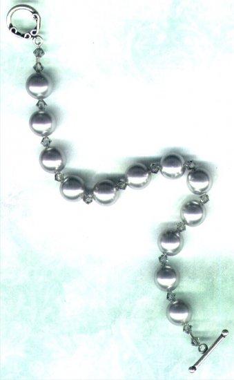 "Silver Swarovski Pearl and Crystal Beaded Bracelet ""Misty"" - PreciousThings.ecrater.com"