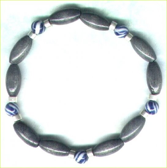"Men's Elasticated Wooden Beaded Bracelet ""Storm Grey"" - PreciousThings.ecrater.com"